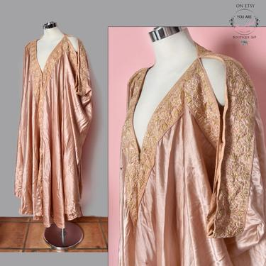 1920's Silk Evening Coat Flapper Cape Dress Gown Peach Pink Embroidered Antique Vintage 20's Fabric Textile Trim Embroidery by Boutique369