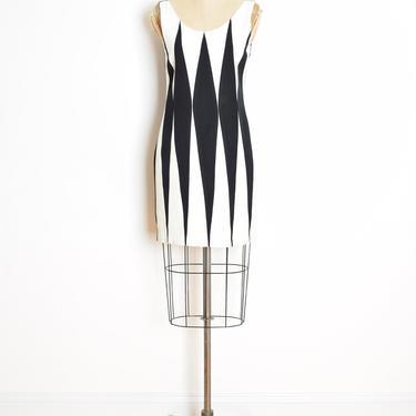vintage 80s dress black white harlequin diamond geometric mini mod futuristic S clothing by huncamuncavintage