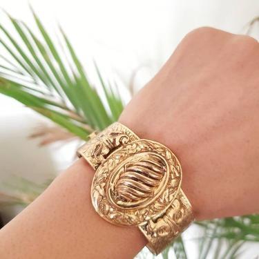 Art deco brass hinge bracelet, 1930s cuff bracelet, statement bracelet, vintage jewelry by ErstwhileStyle