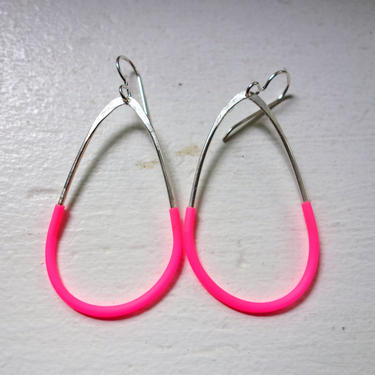 Naxos Dangles - Sterling Silver or 14k Gold Fill and Neon Pink Rubber Geometric Dangle Earrings by RachelPfefferDesigns