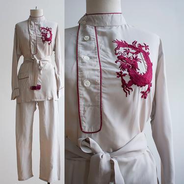 Vintage 1940s 2pc Pajama Set / Gray Silk Vintage Pajamas / Asian Embroidered Pajama Set / Embroidered Silk Pajama Set / Vintage 2pc Pajamas by milkandice