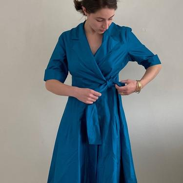90s silk wrap dress / vintage teal peacock blue silk dupioni blazer collared wrap dress | S M by RecapVintageStudio