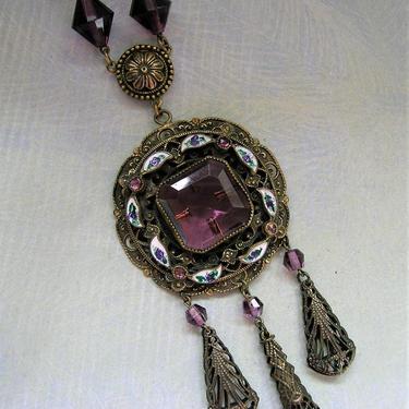 Antique Art Deco Czech Necklace With Enamel and Purple Glass Stones, Old Czech Necklace, Czech Drippy Necklace (3824) by keepsakejewels