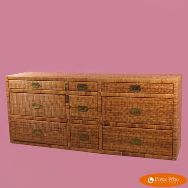 Wrapped and Woven Rattan 9 Drawer Dresser