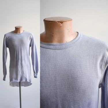 Vintage Dyed Blue Longsleeve Thermal Shirt XXL by milkandice