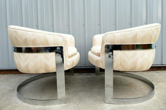 Vtg MILO BAUGHMAN CHROME BARREL BACK LOUNGE CHAIR PAIR Sofa Sideboard MCM Retro