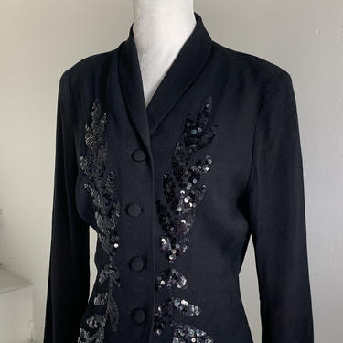1940s Rayon Crepe Sequined Jacket Fitted Nipped Waist 38 Bust Vintage by AmalgamatedShop
