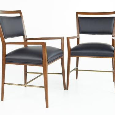 Paul McCobb For Calvin Group Mid Century Walnut Brass and Leather Captain Chairs - Pair - mcm by ModernHill