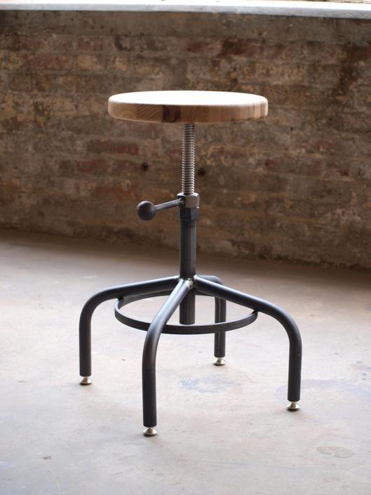 Oak Industrial Stool Adjustable Drill Press Stool bar stools by CamposIronWorks