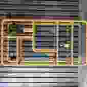 Boho Mid Century Modern rattan etagere