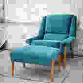 Turquoise Velvet Folke Ohlsson for Dux Chair & Ottoman