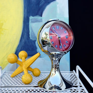 Blessing West Germany Space Age Pedestal Clock | MCM Chrome & Red Tulip Bubble Mantle Alarm Clock | Atomic Era Décor | Blessing-Werke by ELECTRICmarigold
