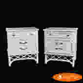 Pair of Ficks Reed White Nightstands