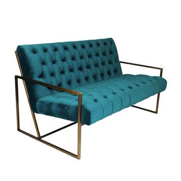 Teal Velvet Tufted Sofa with Brass Base from Terra Nova Designs by TerraNovaLA