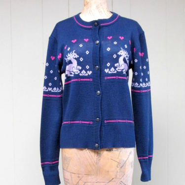 """Vintage 1970s Reindeer Sweater, 70s does 40s Blue Nordic Cardigan, Small 34"""" Bust by RanchQueenVintage"""