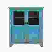 Distressed Bright Blue Glass Display Bookcase Curio Cabinet cs5382S