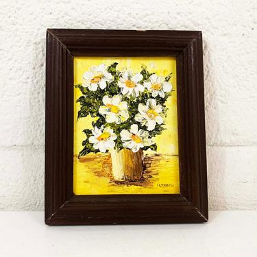 Vintage Framed Floral Original Mini Painting Art White Daisies Flower Wood Frame Painted 3D Amateur Painter Hobbyist Hobby Wall Decor by CheckEngineVintage