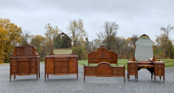Antique Four Piece Bedroom Set - Chest of Drawers, Dresser with Mirror, Bed, Vanity with Mirror by ForeverPinkVintage