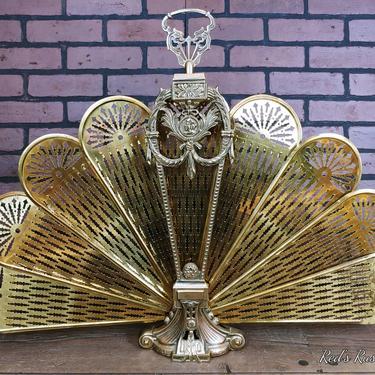 Brass Hollywood Regency Peacock Fireplace Fan Collapsible Screen by RedsRustyRelics