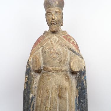 1800's Polychrome Santos Saint Statue wearing Cross,  Antique Hand Carved, Vintage Religious Church Folk Art Decor by exploremag
