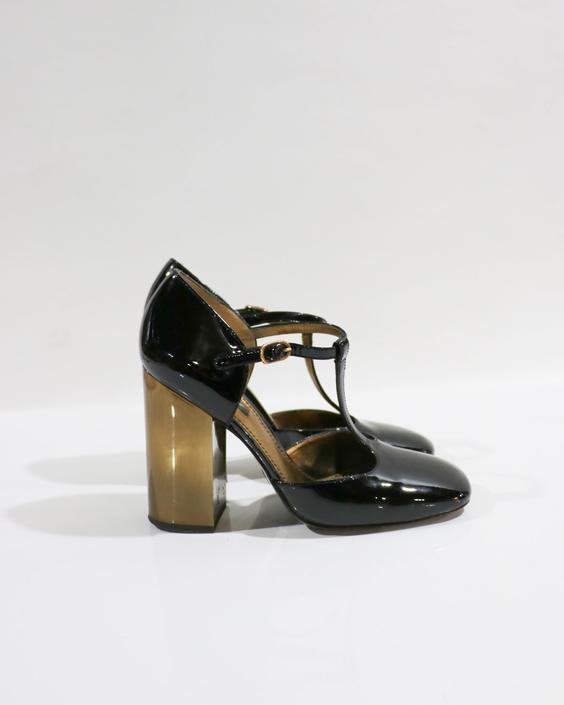 Dolce & Gabbana Patent Leather T-Strap Pumps, Size 38