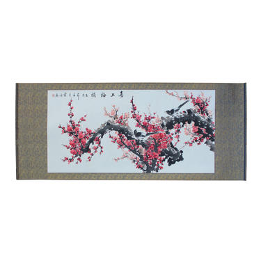Chinese Color Water Ink Blossom Flower Horizontal Scroll Painting Wall Art cs5706E by GoldenLotusAntiques