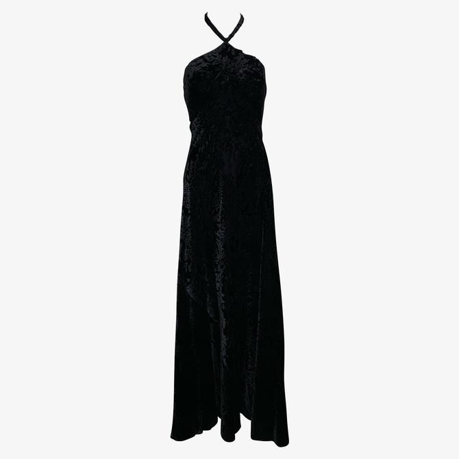 Galanos 70s Textured Black Velvet Halter Gown