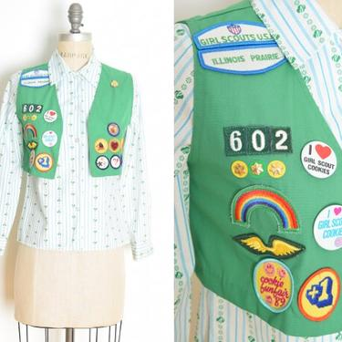 vintage 80s top girl scout vest printed blouse shirt loaded patches green XS clothing by huncamuncavintage