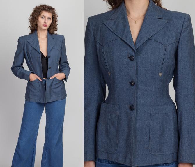 1940s Blue Gabardine Western Suit Jacket - Small | Vintage 40s 50s Gross Denver Button Up Blazer by FlyingAppleVintage