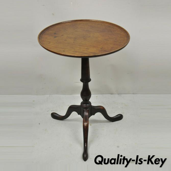 19th C. Antique English Queen Anne Solid Mahogany Round Accent Lamp Tea Table