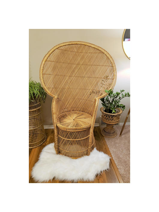 RESERVED for Jerome N. | Direct Shipping Only for Order #2046402861 | Vintage Wicker Peacock Chair | Boho Rattan Throne Barrel Base by SavageCactusCo