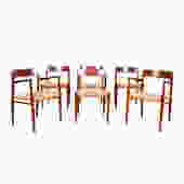 6 Teak 2 Arm (Model #56) + 4 Side (Model #75) Niels M\u00f8ller Dining Chairs