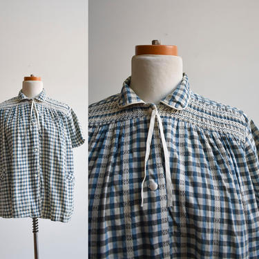 Vintage 1960s Checkered Maternity Blouse by milkandice