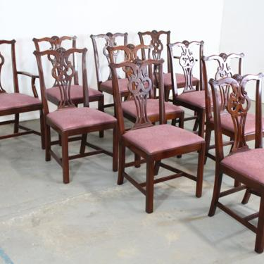 Set of 10 Chippendale Solid Mahogany Dining Side Chairs by Century Furniture by AnnexMarketplace