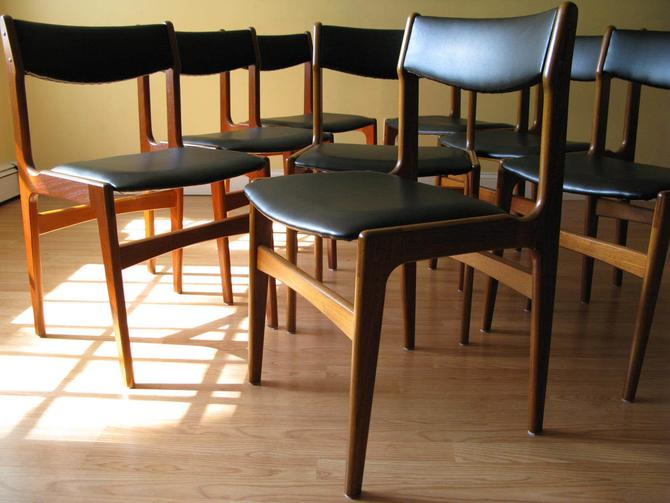 Set of eight (Set of 8) Erik Buch Teak Chairs in Black Faux Leather by ASISisNOTgoodENOUGH