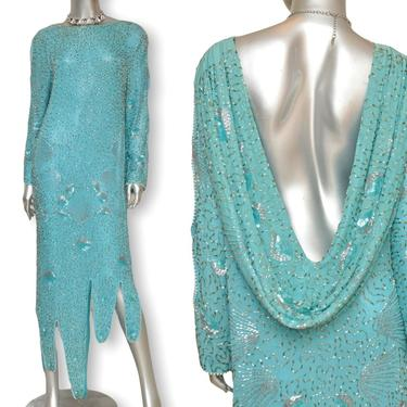 Vintage Turquoise Blue Silk Sequins and Beaded Asymmetrical Evening Gown s/m by TheUnapologeticSoul