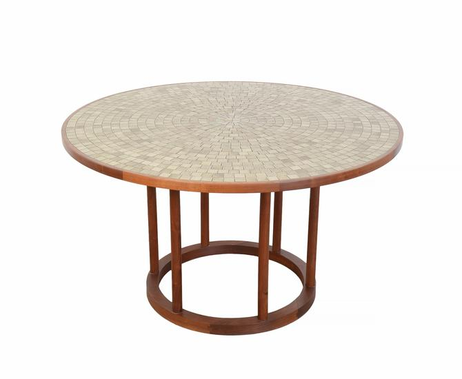 Martz Dining Table Ceramic and Walnut Round Table Marshall Studios Mid Century Modern by HearthsideHome