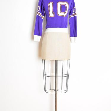 vintage 70s sweatshirt purple yellow 10 athletic shrunken kids top shirt tee XS clothing by huncamuncavintage