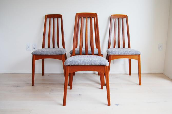 Set of 4 Mid Century Modern Benny Linden Teak High Back Dining Chairs by MidCentury55
