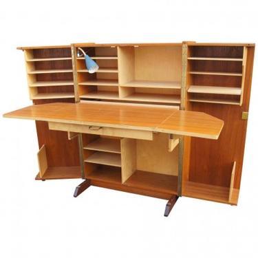 Teak Folding Box Desk with Lamp by Mummenthaler & Meier