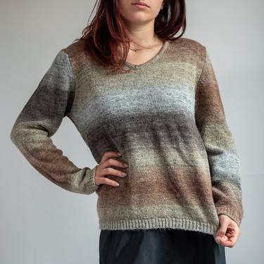 Boxy 1980's V Neck Gradient Sweater Brown and Beige Medium by BeggarsBanquet
