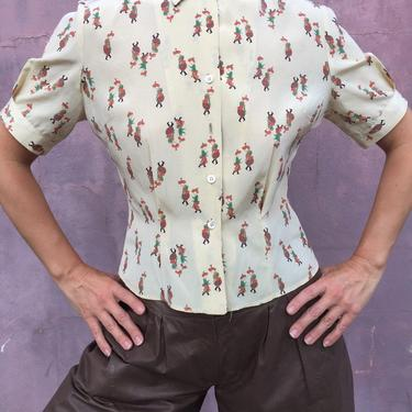 vintage 40s top | button down novelty print blouse | short sleeve cream tuck in blouse by LosGitanosVintage