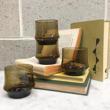 Vintage Whiskey Glasses Set Retro 1970s Libbey + Impromptu + Smokey Amber Glass + Set of 4 + Lowball Tumblers + On the Rocks + Bar Decor by RetrospectVintage215