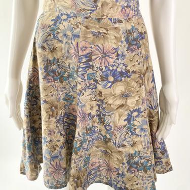 Super Cute Tan Floral Linen Mini Skirt