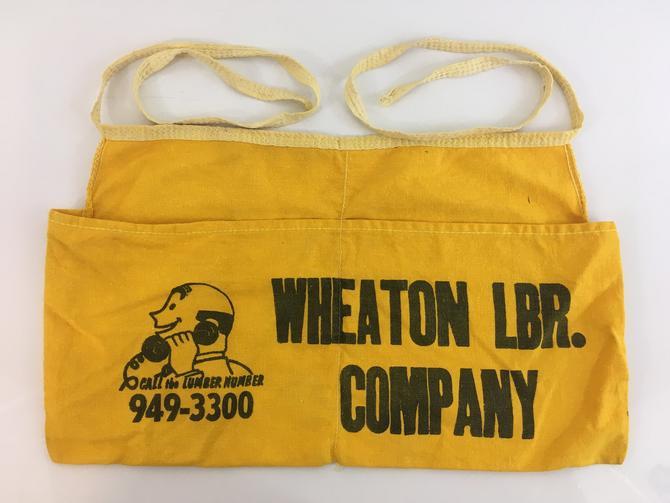 Vintage Cotton Apron Lumber Yard Wheaton LBR. Company Maryland Black Yellow Mid-Century Retro Kitchen Cottage Farmhouse Rustic Americana by CheckEngineVintage