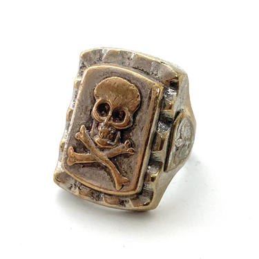 Vintage 1940s MEXICAN BIKER RING ~ size 8 ~ Skull ~ Mexico Souvenir ~ Rockabilly ~ Motorcycle by SparrowsAndWolves