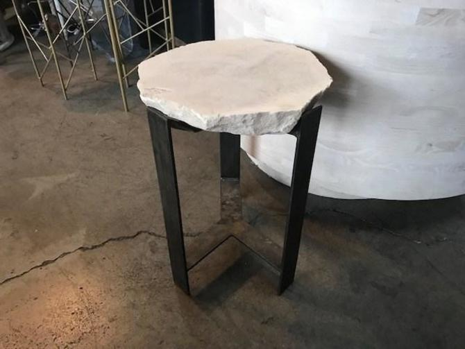 "CUSTOM STONE TOP SIDE TABLE 13""X 13.5"" X 18.5"" H"