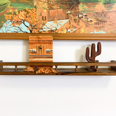 Long  Wood Knick Knack Shelf / Vintage Spindle Plate Display Picture Rail / 2 Foot Floating Hanging Gallery Rail / Retro Wall Decor by Hawksbride