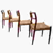 Set of 4 Danish Modern Teak Niels Moller #79 Dining Chairs