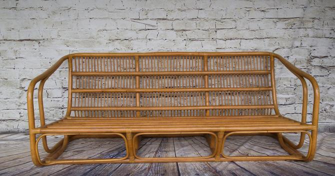 SHIPPING NOT FREE!!! Vintage Rattan Bench by WorldofWicker
